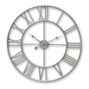 Feature Piece - Large Nickel Skeleton Wall Clock 80cm Silver